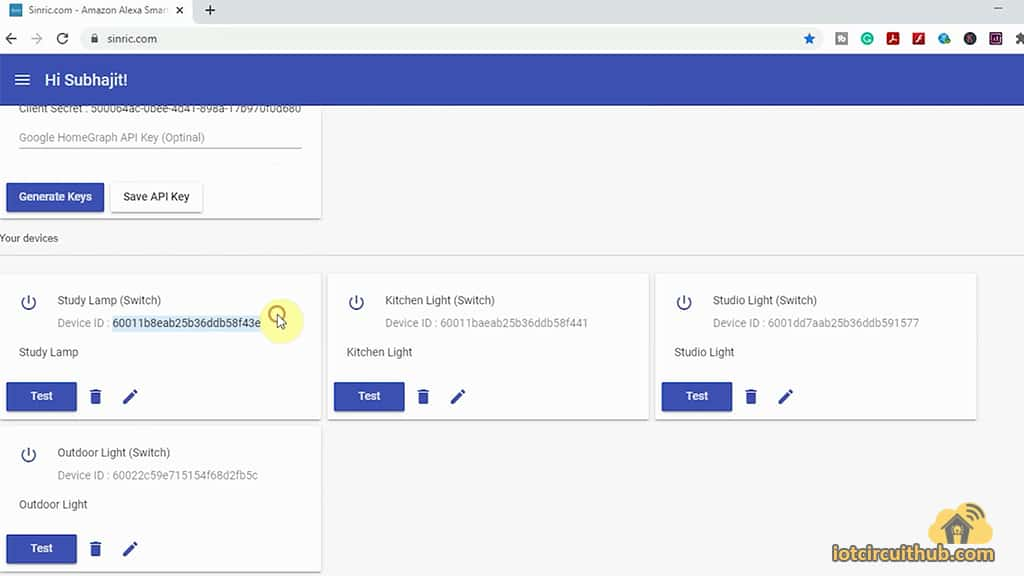 add multiple devices in the Sinric dashboard