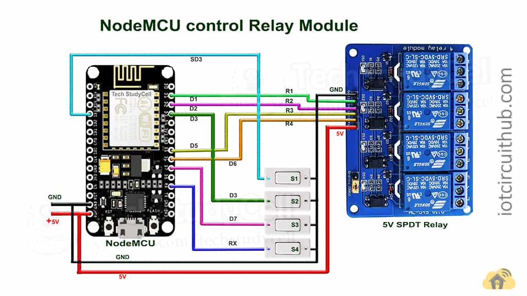 Circuit of the NodeMCU Home Automation