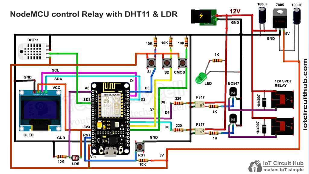 Circuit of this Blynk NodeMCU IoT projects