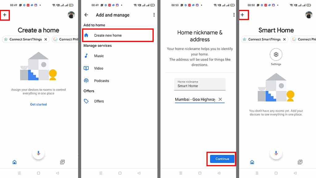 Create a new Home in Google Home