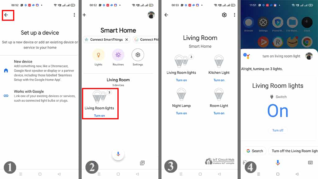 Control devices with Google Home app