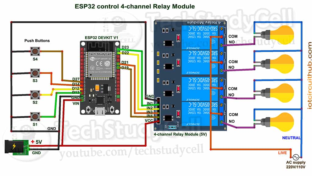 Circuit of the ESP32 Home Automation