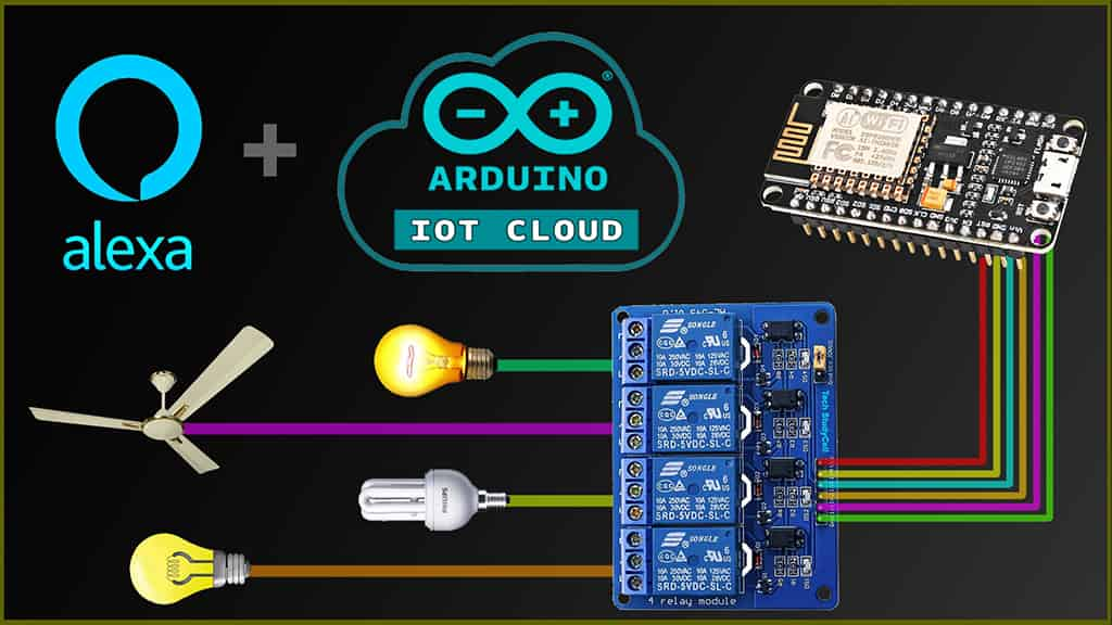 Read more about the article Arduino IoT Cloud ESP8266 NodeMCU Alexa Home Automation system