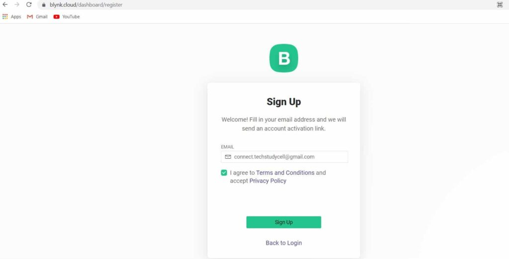 Create an account in Blynk IoT Cloud