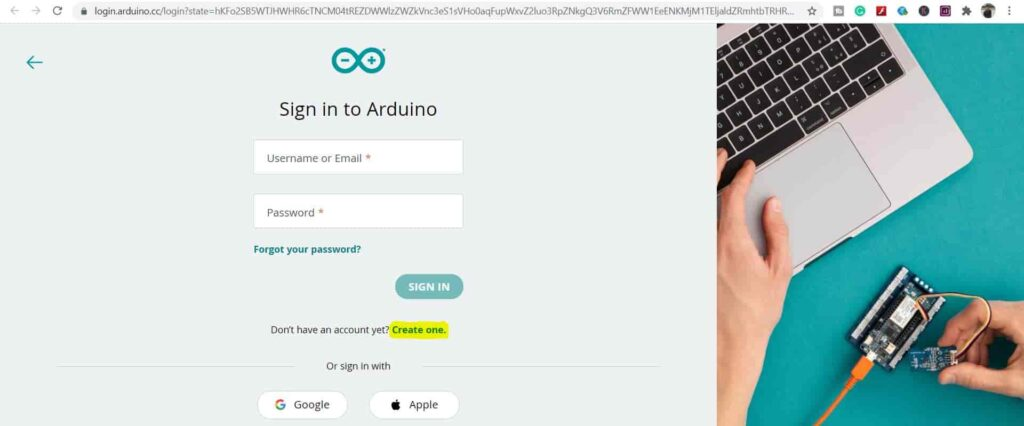 sign up in Arduino IoT Cloud