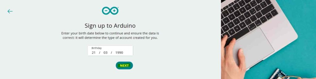 sign up for arduino iot cloud