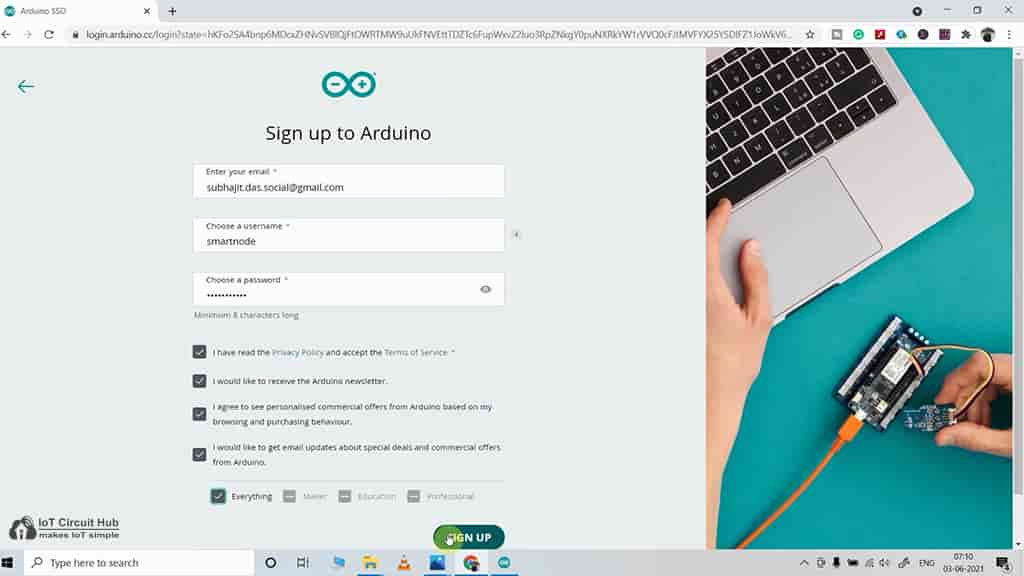 steps to sign up for Arduino IoT cloud
