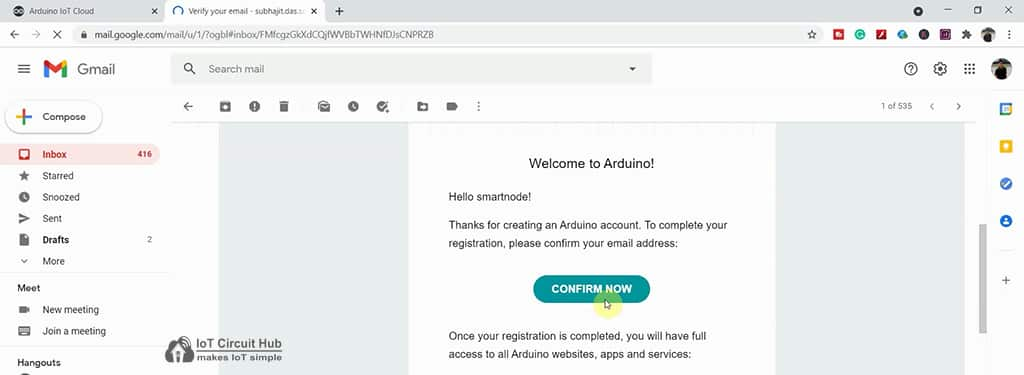 verification email from Arduino IoT Cloud